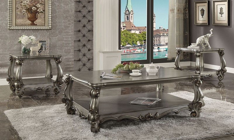 Versailles Formal Living Room Set in Platinum