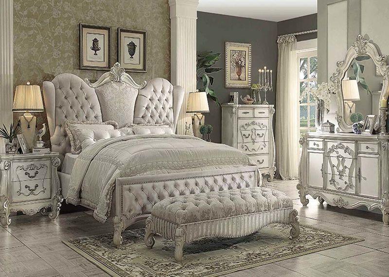 Von Furniture Versailles Bedroom Set In Ivory Velvet