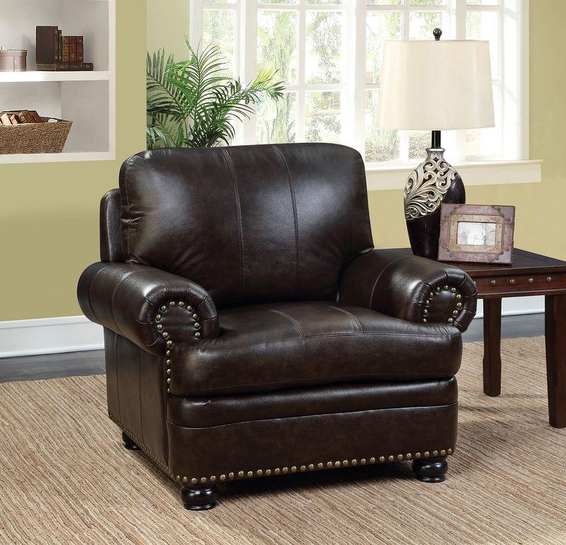 Reinhardt Leather Living Room Set in Dark Brown