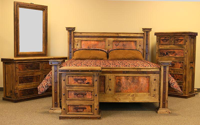 Natural Finish Copper Panel Rustic Bedroom Set