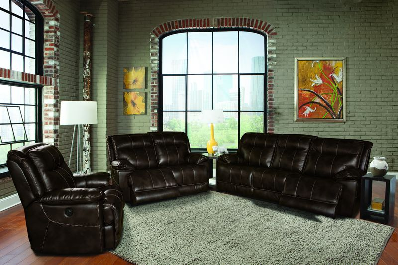 Phoenix Reclining Living Room Set in Truffle