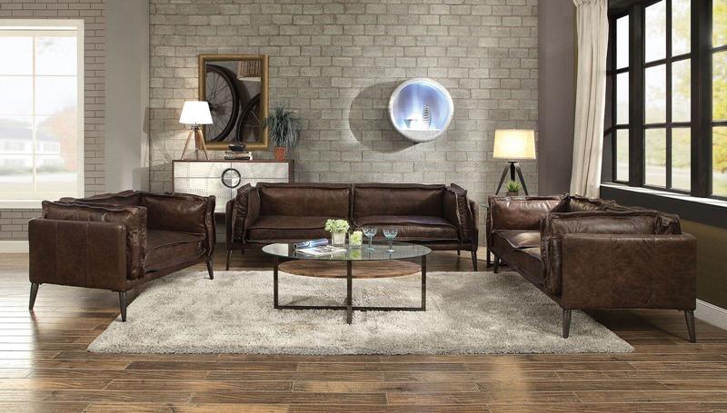 Porchester Leather Living Room Set