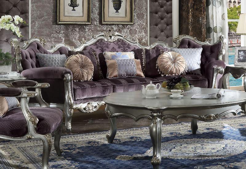 Picardy Formal Living Room Set in Platinum