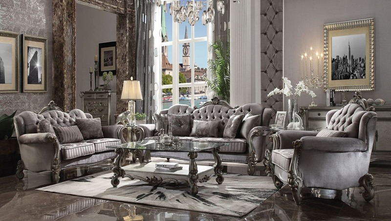 Versailles Formal Living Room Set in Silver Velvet