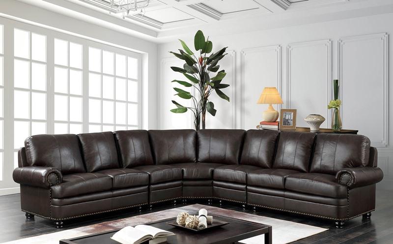 Edith Leather Sectional Sofa