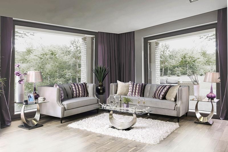 Tegan Living Room Set in Gray