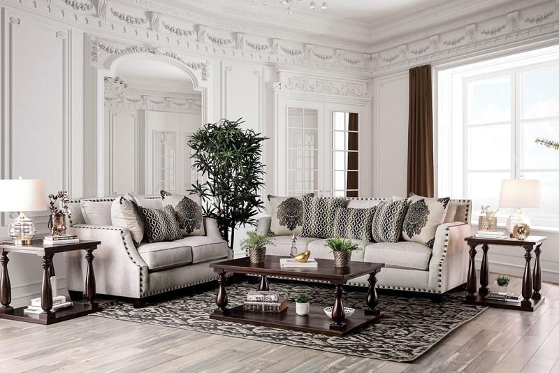 Cornelia Living Room Set in Beige Chenille