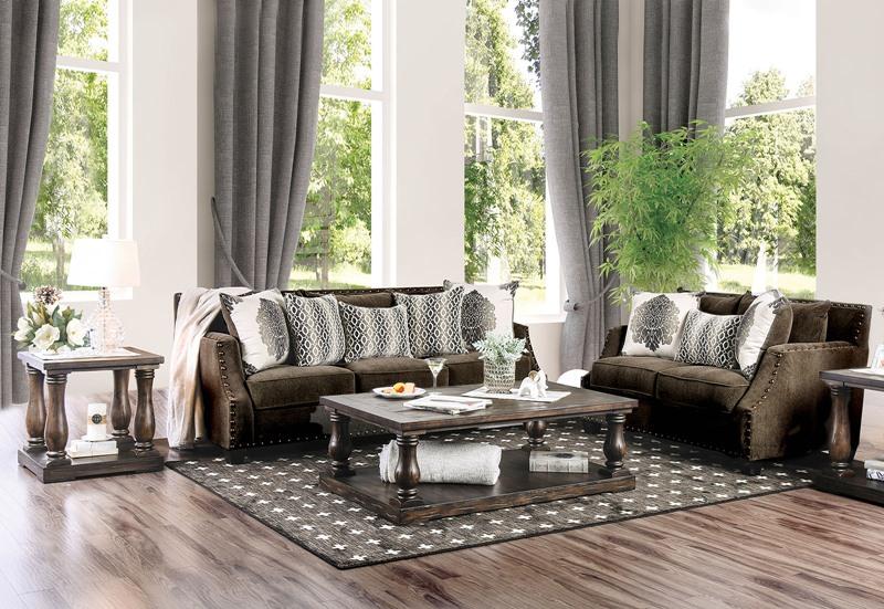 Cornelia Living Room Set in Dark Brown Chenille