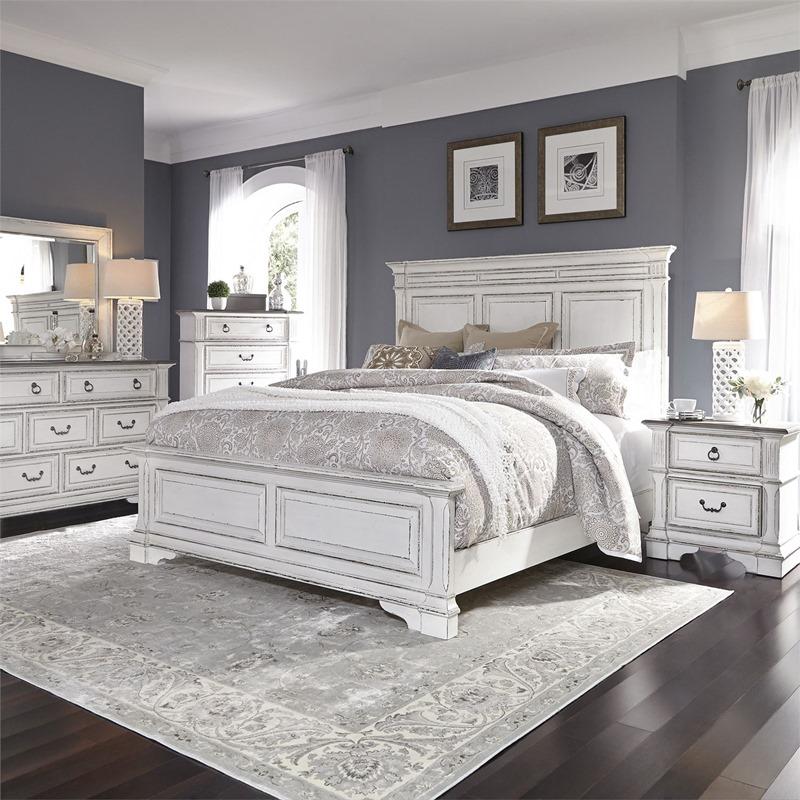 Abbey Park 4 Piece Distressed White Bedroom Set