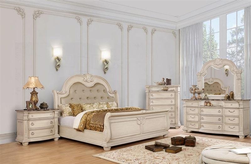 Florence Bedroom Set in Antique Whitewash