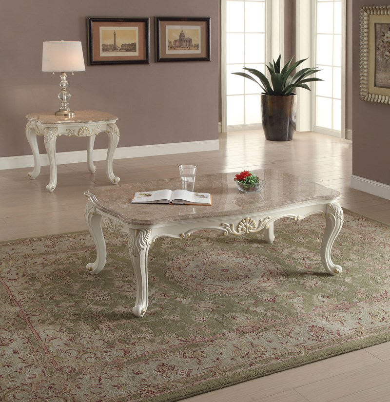 Parma Marble Top Coffee Table Set in Pearl White