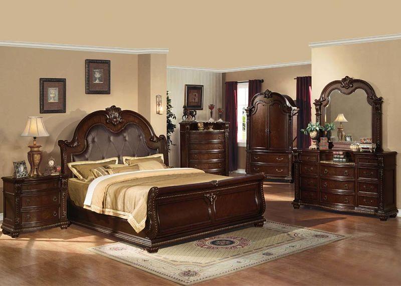 Abadan Cherry Bedroom Set with Sleigh Bed | Sale