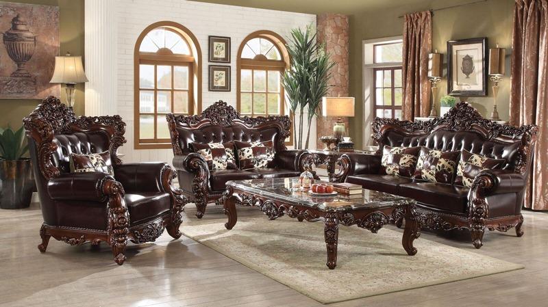 Forsythia Formal Leather Living Room Set