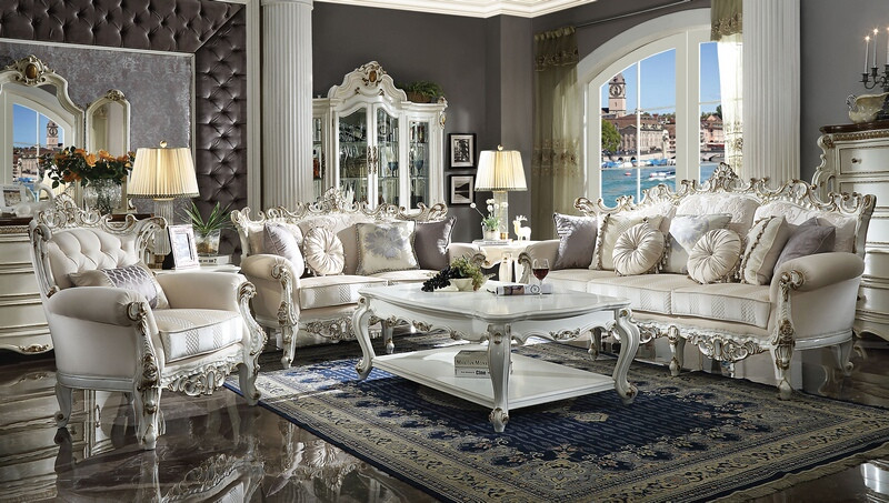 Picardy Formal Living Room Set in Pearl