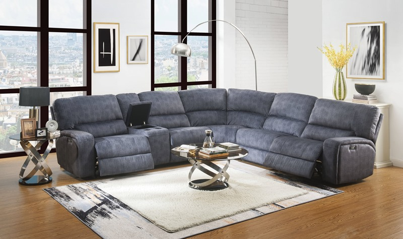 Saul Reclining Sectional in Blue