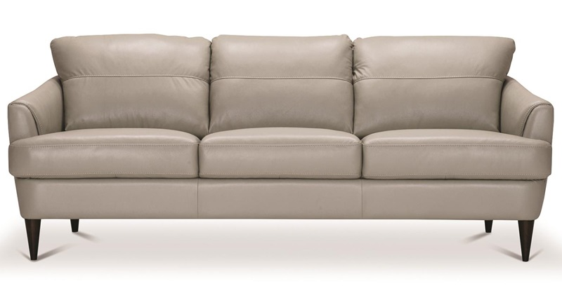 Helena Leather Living Room Set in Gray