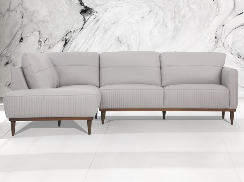 Tampa LSF Leather Sectional in Gray