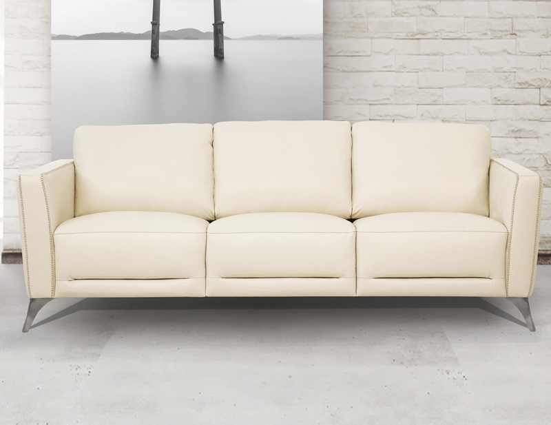 Malaga Leather Living Room Set in Cream