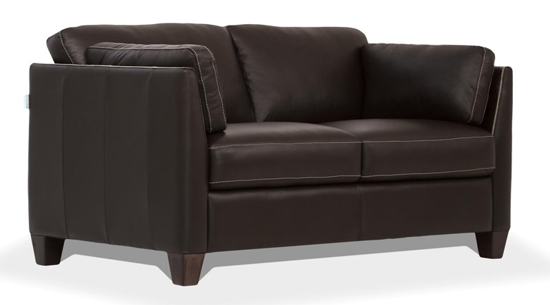 Matias Leather Living Room Set in Chocolate