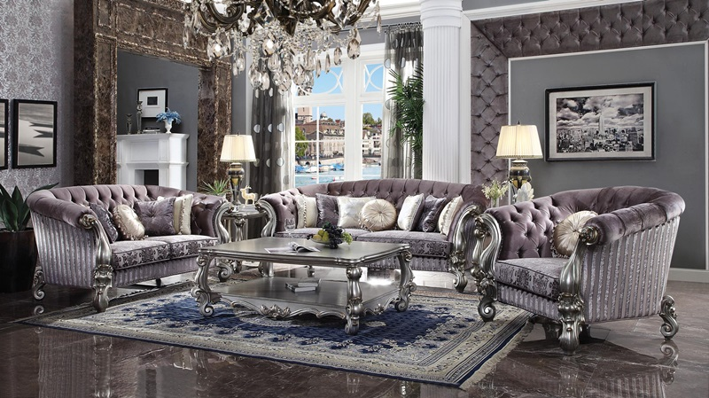Pleasing 56825 Versailles Platinum Sofa Set Acme Free Shipping Home Interior And Landscaping Ponolsignezvosmurscom