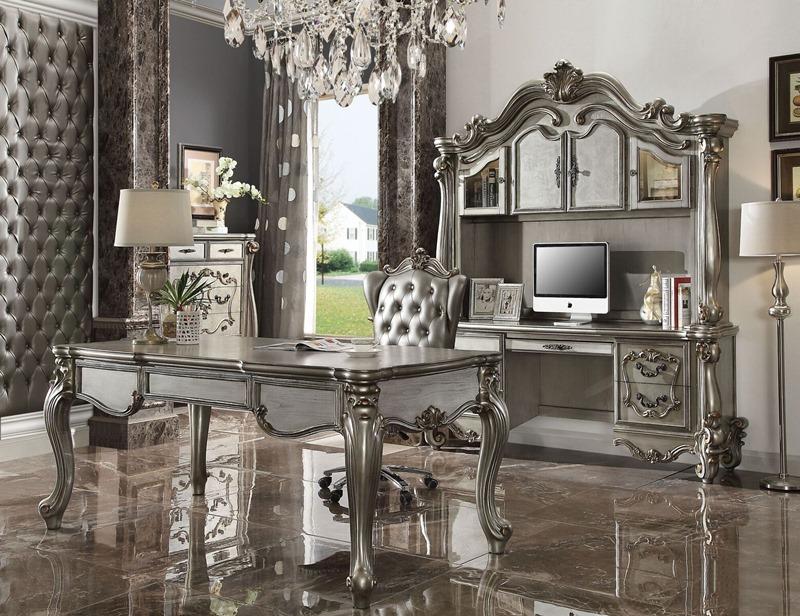 Versailles Computer Desk with Hutch in Platinum