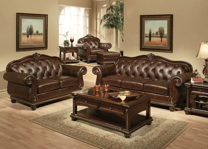 Leather Living Room Set Von Furniture  Anondale Formal Leather Living Room Set