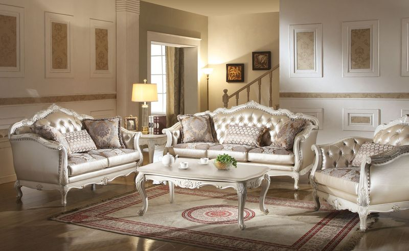 white leather living room set. Chantelle Formal Living Room Set in White Von Furniture