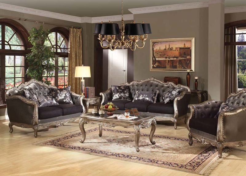 von furniture chantelle formal living room set in platinum
