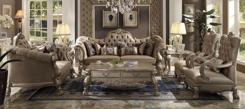 dresden formal living room set in bone velvet - Formal Living Room Sets