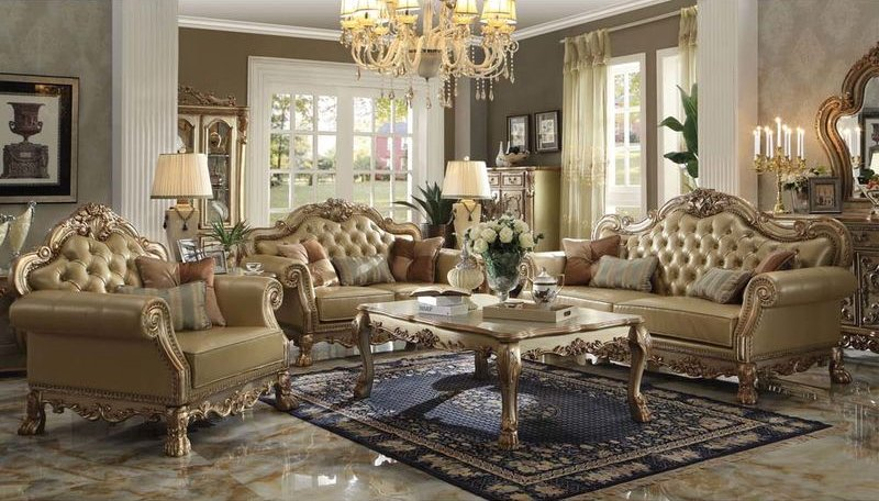 Dresden Formal Living Room Set in Gold