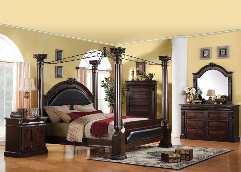 Von furniture roman empire bedroom set with canopy bed for Elegant canopy bedroom sets