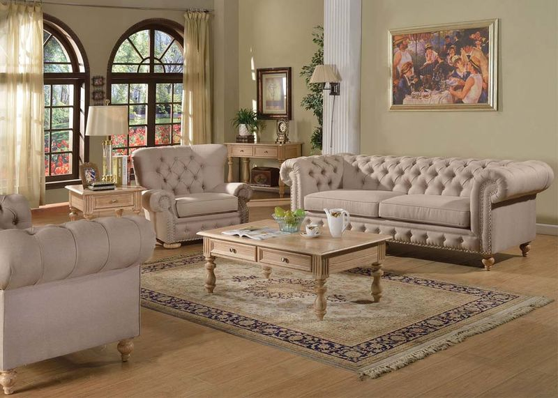 Beautiful Shantoria Formal Living Room Set In Beige