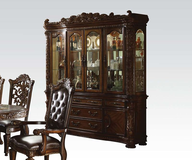 Vendome Round Formal Dining Room Set with Glass Table Top