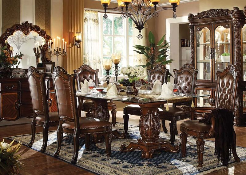 Vendome Formal Dining Room Set With Glass Table Top