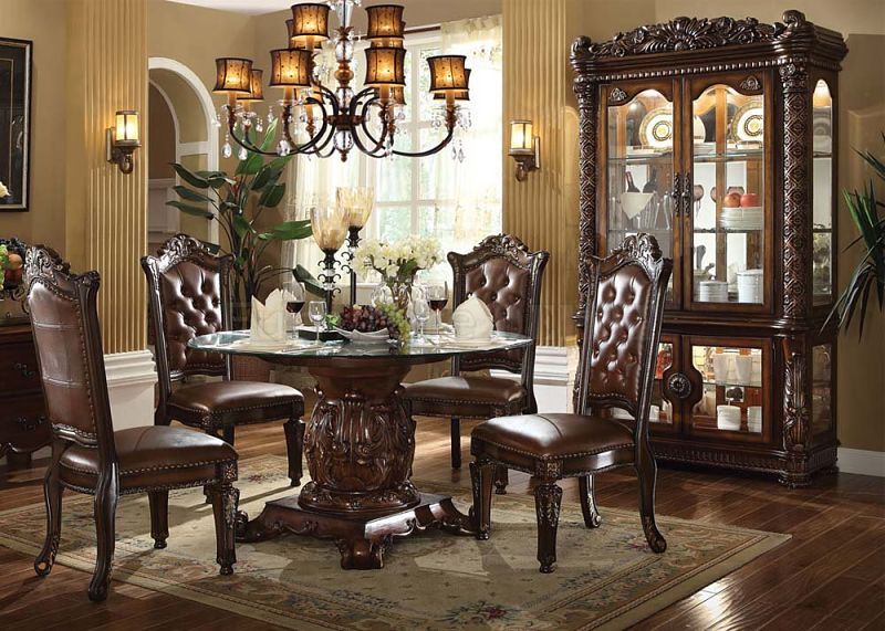 62010 Vendome Round Formal Dining Room Set With Glass