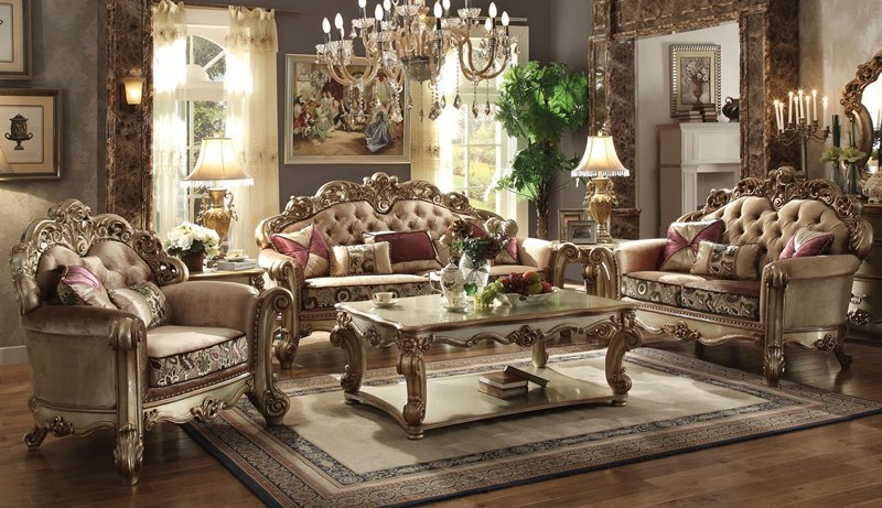 Von Furniture | Vendome Formal Living Room Set in Gold