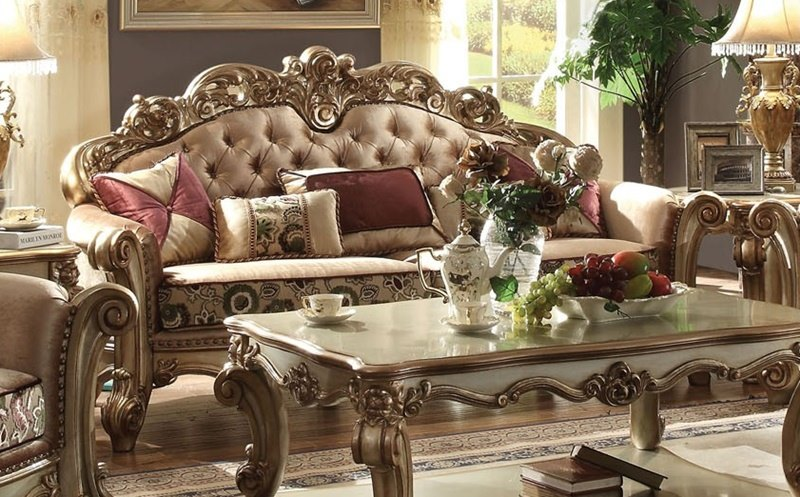 furniture vendome formal living room set in gold 73150