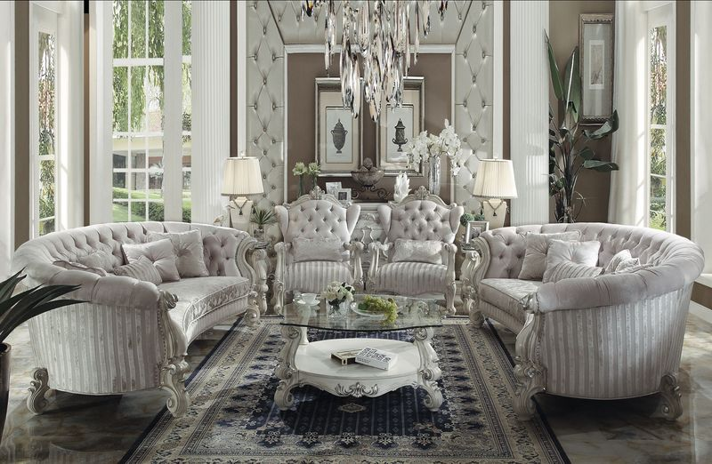 von furniture versailles crescent living room set in ivory. Black Bedroom Furniture Sets. Home Design Ideas