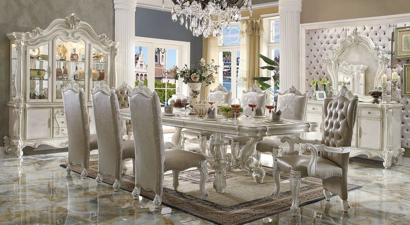 Von Furniture | Versailles Large Formal Dining Room Set in White