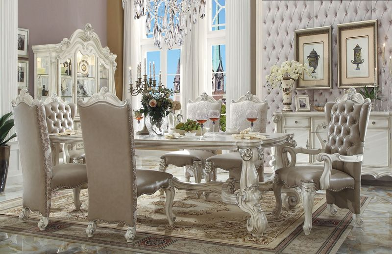 61145 Versailles White Dining Set Acme Furniture Free
