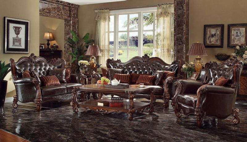 von furniture versailles formal living room set in dark brown
