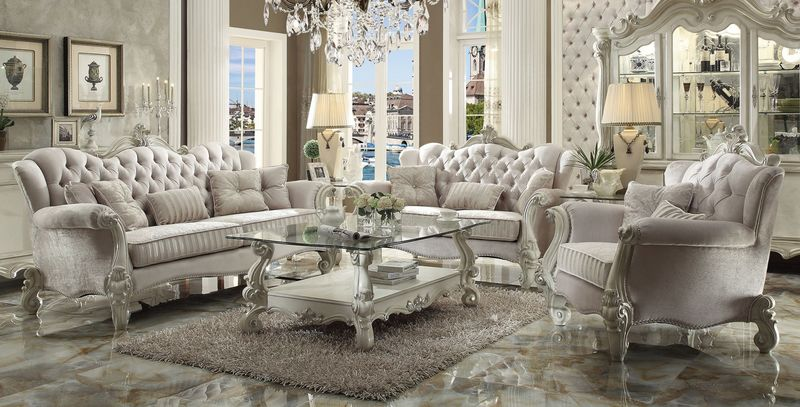 Versailles Formal Living Room Set in Ivory