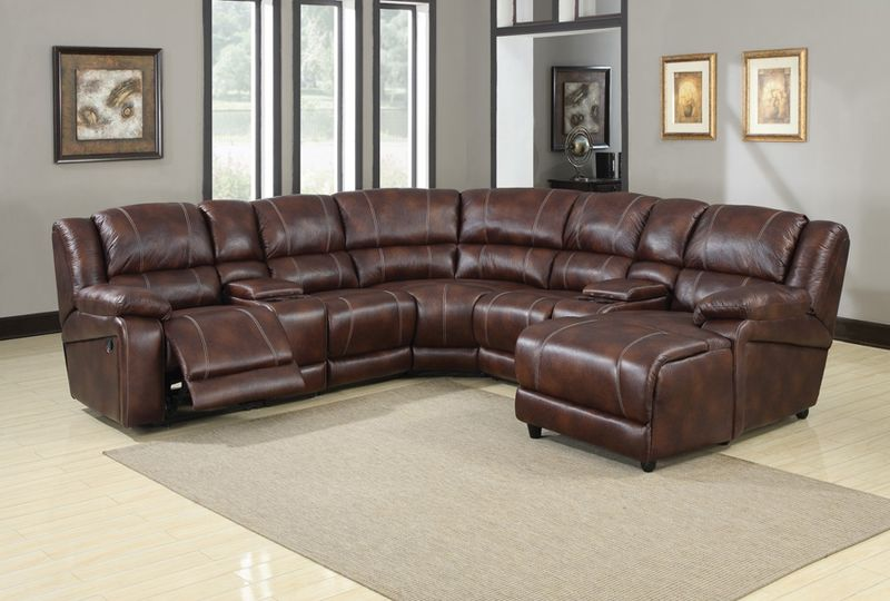Zanthe Reclining Sectional in Brown Microfiber