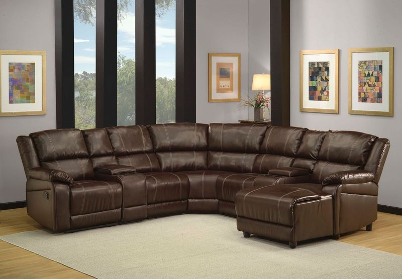 Zanthe Reclining Sectional in Brown Leatherette