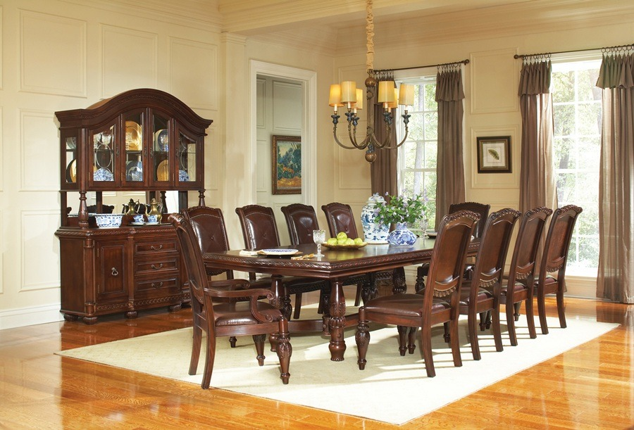 Gable formal cherry dining room table set von furniture for Formal dining room sets