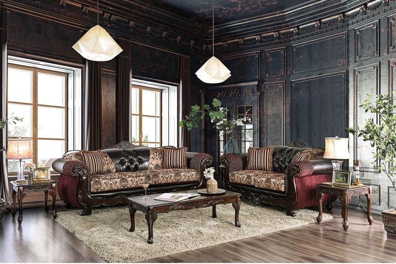 604588 Belfast Burgundy Sofa Set | Von Furniture | Free Shipping