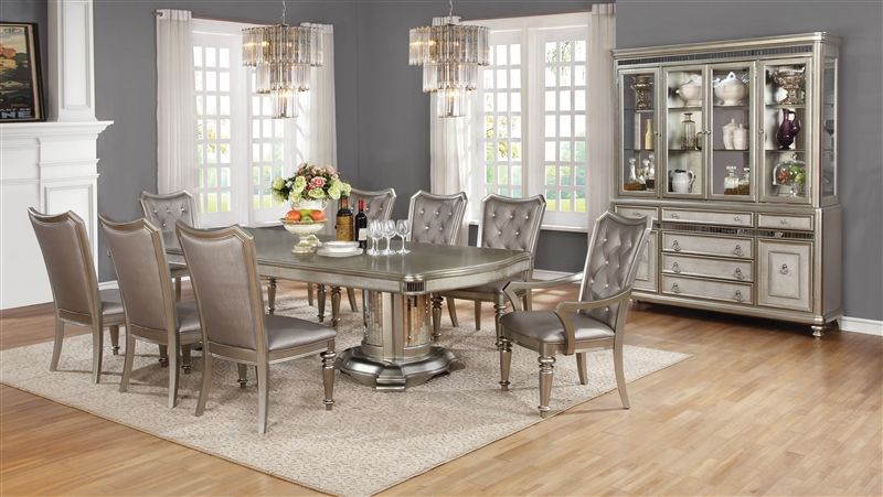 Bling Game Formal Dining Room Set with Double Pedestal Table
