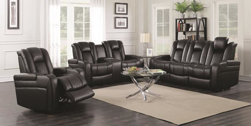 Delangelo Hi-Tech Reclining Living Room Set in Black