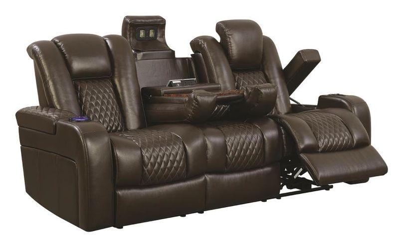 Delangelo Hi-Tech Reclining Living Room Set in Brown