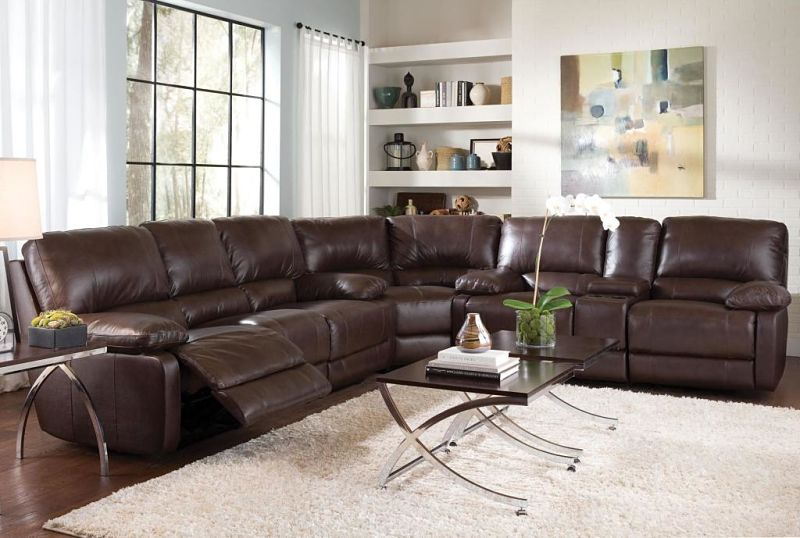 Geri Reclining Leather Sectional